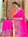 photo of Wedding Special Art Silk Fabric Traditional Jacquard Work Fancy Saree In Rani Color