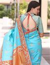 photo of Jacquard Work Traditional Sky Blue Function Wear Saree In Art Silk