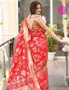 photo of Red Traditional Jacquard Work Fancy Saree In Art Silk