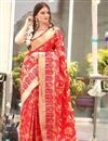 image of Red Traditional Jacquard Work Fancy Saree In Art Silk
