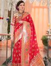 image of Festive Special Traditional Red Jacquard Work Art Silk Function Wear Saree