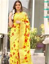 image of Festive Special Yellow Art Silk Jacquard Work Traditional Fancy Saree