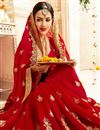 photo of Embroidered Red Wedding Wear Fancy Saree