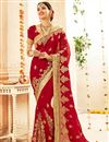 image of Embroidered Red Wedding Wear Fancy Saree