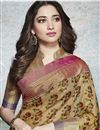 photo of Tamannaah Bhatia Featuring Printed Daily Wear Saree In Linen Fabric Beige