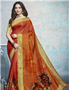 image of Tamannaah Bhatia Featuring Orange Linen Fabric Daily Wear Saree With Printed