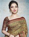 photo of Tamannaah Bhatia Featuring Fancy Linen Fabric Beige Daily Wear Printed Saree
