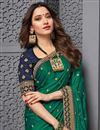 photo of Tamanna Bhatia Art Silk Fabric Sangeet Wear Embroidered Border Work Saree In Dark Green Color