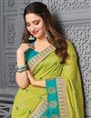 photo of Tamanna Bhatia Sangeet Wear Sea Green Color Art Silk Fabric Embroidered Border Work Saree