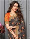 photo of Tamanna Bhatia Sangeet Wear Art Silk Fabric Embroidered Border Work Saree In Orange Color