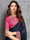 photo of Tamanna Bhatia Sangeet Wear Navy Blue Color Chiffon Fabric Embroidered Border Work Saree