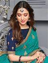 photo of Tamanna Bhatia Art Silk Fabric Sangeet Wear Cyan Color Embroidered Border Work Saree