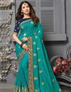 image of Tamanna Bhatia Art Silk Fabric Sangeet Wear Cyan Color Embroidered Border Work Saree