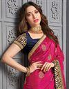 photo of Tamanna Bhatia Art Silk Fabric Sangeet Wear Embroidered Border Work Saree In Rani Color