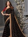 image of Tamanna Bhatia Party Wear Black Color Art Silk Fabric Embroidered Border Work Saree