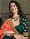 photo of Tamannaah Bhatia Dark Green Color Puja Wear Art Silk Fabric Fancy Embroidery Work Saree