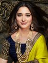 photo of Tamannaah Bhatia Art Silk Fabric Sangeet Wear Fancy Yellow Color Embroidery Work Saree