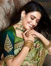 photo of Tamannaah Bhatia Wedding Wear Art Silk Fabric Fancy Embroidery Work Saree In Green Color