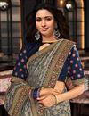 photo of Tamanna Bhatia Art Silk Fabric Festive Wear Grey Color Border Work Saree
