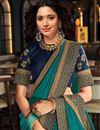 photo of Tamanna Bhatia Teal Color Party Wear Art Silk Fabric Border Work Saree