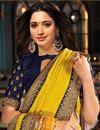 photo of Tamanna Bhatia Art Silk Fabric Sangeet Wear Yellow Color Border Work Saree