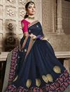 photo of Tamannaah Bhatia Function Wear Designer Navy Blue Lace Border Saree In Art Silk