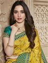 photo of Tamannaah Bhatia Function Wear Designer Art Silk Yellow Lace Border Saree