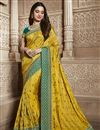 image of Tamannaah Bhatia Function Wear Designer Art Silk Yellow Lace Border Saree