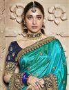 photo of Tamannaah Bhatia Cyan Function Wear Designer Art Silk Lace Border Saree