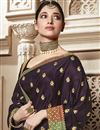 photo of Tamannaah Bhatia Function Wear Designer Wine Color Art Silk Lace Border Saree