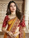 photo of Tamannaah Bhatia Function Wear Designer Lace Border Art Silk Orange Saree