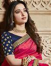 photo of Tamannaah Bhatia Function Wear Designer Lace Border Art Silk Pink Saree