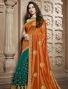 image of Tamannaah Bhatia Teal Function Wear Designer Lace Border Art Silk Saree