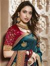 photo of Tamannaah Bhatia Function Wear Designer Teal Lace Border Saree In Art Silk