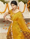 photo of Casual Style Georgette Fabric Yellow Color Printed Saree
