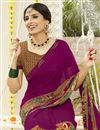 photo of Office Wear Georgette Fabric Printed Purple Color Saree