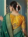 photo of Silk Fabric Function Wear Dark Green Color Embroidered Saree