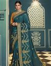 image of Silk Fabric Party Wear Saree In Dark Teal Color