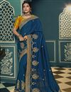 image of Blue Color Traditional Saree In Silk Fabric