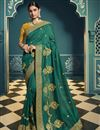 image of Silk Fabric Teal Color Designer Saree