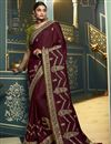 image of Wine Color Party Wear Saree In Silk Fabric