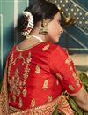 photo of Silk Fabric Designer Saree In Mehendi Green Color