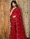 image of Chitrangada Singh Printed Daily Wear Saree In Georgette Fabric Red Color