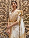 photo of Off White Color Paithani Silk Fabric Weaving Work Function Wear Stylish Saree