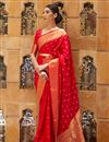 image of Paithani Silk Fabric Red Color Weaving Work Festive Wear Fancy Saree