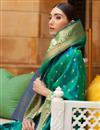 photo of Weaving Work Paithani Silk Fabric Green Color Sangeet Wear Designer Saree
