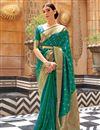image of Weaving Work Paithani Silk Fabric Green Color Sangeet Wear Designer Saree