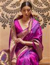 photo of Paithani Silk Fabric Weaving Work Purple Color Wedding Wear Fancy Saree