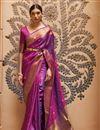 image of Paithani Silk Fabric Weaving Work Purple Color Wedding Wear Fancy Saree