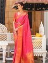 image of Pink Color Paithani Silk Fabric Stylish Weaving Work Function Wear Saree